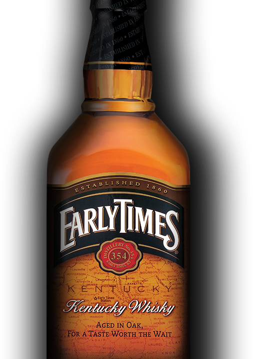 Bottle of Early Times in front of a red and yellow striped backdrop